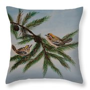 Golden Crowned Kinglets Throw Pillow