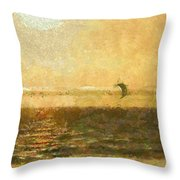 Golden Day Painterly Throw Pillow