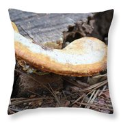 Golden Edged Mushroom Throw Pillow