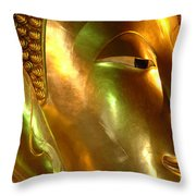 Golden Face Of Buddha Throw Pillow