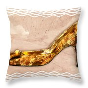 Golden Floral Royalty Shoe Throw Pillow