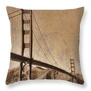 Golden Gate Bridge Sepia Throw Pillow