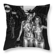Golden Girls Of Bourbon Street - Black And White Throw Pillow