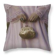 Golden Handbag Throw Pillow
