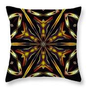 Golden Kaleidoscope Throw Pillow