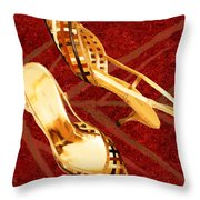 Golden Lattice Slingbacks On Royal Red Carpet Throw Pillow