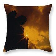 Golden Light Silhouette Throw Pillow