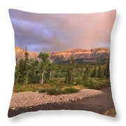 Golden Montana Mountain Throw Pillow