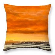 Golden Morning Over Humboldt Bay Throw Pillow