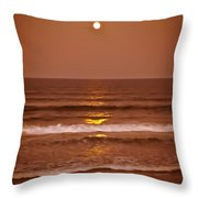 Golden Pathway To The Shore Throw Pillow