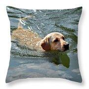 Golden Retriever Swimming Throw Pillow