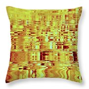 Golden Ripples Abstract Throw Pillow