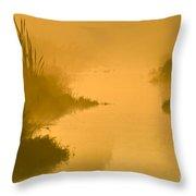 Golden Riverside Throw Pillow
