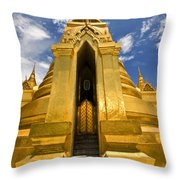 Golden Stupa Front View Bangkok Throw Pillow
