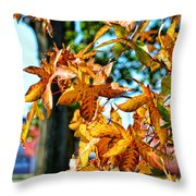 Golden Sweetgum Leaves Throw Pillow