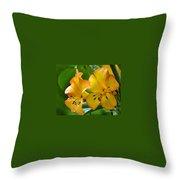 Golden Tropical Flowers Throw Pillow