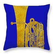 Golden Tuba Throw Pillow