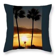 Golden Twin Palms Sunset Throw Pillow
