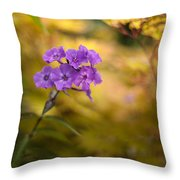 Golden Violets Throw Pillow