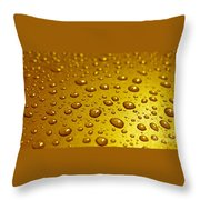 Golden Water Drops. Business Card. Invitation Etc. Throw Pillow