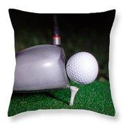 Golf Club Hitting Ball Throw Pillow