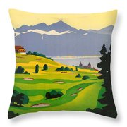 Golfing In Lausanne Throw Pillow