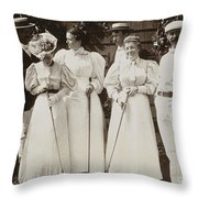 Golfing Party, C1895 Throw Pillow