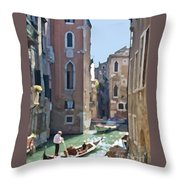 Gondola Painting Throw Pillow