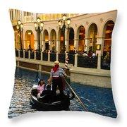 Gondola Ride Inside Venetian Hotel Throw Pillow