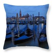 Gondolas At Dusk In Venice Throw Pillow