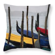 Gondolas At Harbor On A Misty Day Throw Pillow