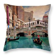 Gondolas On The Canal - Impressions Throw Pillow