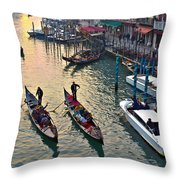 Gondolieri At Grand Canal. Venice. Italy Throw Pillow