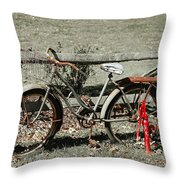 Good Ole Times Bike And Hand Pump Throw Pillow
