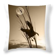 Goose At Dusk - Sepia Throw Pillow