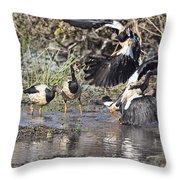 Goose Fight Throw Pillow