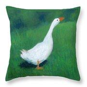 Goose On Green Throw Pillow