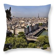 Gorgyle View Of Paris Throw Pillow