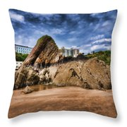 Goscar Rock Tenby 4 Painted Throw Pillow