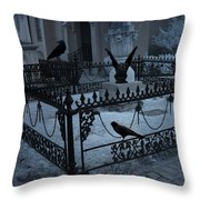 Gothic Surreal Night Gargoyle And Ravens - Moonlit Cemetery With Gargoyles Ravens Throw Pillow