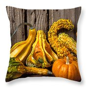 Gourds Against Wooden Wall Throw Pillow