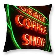 Grace Coffee Shop Neon Throw Pillow