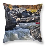 Grace Under Pressure On The Potomac River At Great Falls Park Throw Pillow