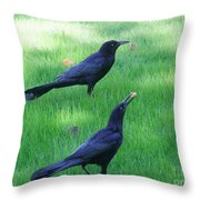 Grackles In The Yard Throw Pillow