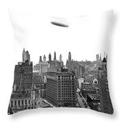 Graf Zeppelin Over Chicago Throw Pillow