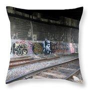 Graffiti - Under Over Railyard Throw Pillow