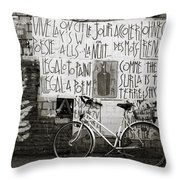 Graffiti And Bicycle Throw Pillow