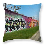 Graffiti Lane Throw Pillow