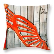 Graffiti Orange Cage Stilettos Throw Pillow
