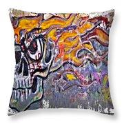 Graffiti Skull Throw Pillow